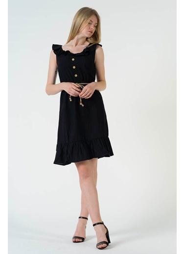 Reyon Askılı Bel ıpli Günlük Keten Elbise Hardal Siyah